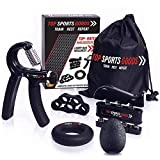 Top Sports Goods Hand Grip Strengthener Workout (Complete 5pcs Pack) - Adjustable Resistance Hand Strengthener, Finger Exerciser, Finger Stretcher, Grip Ring, Resistance Ball + Carrying Bag