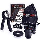 Top Sports Goods Hand Grip Strengthener Workout (Complete 5pcs Pack) - Adjustable Resistance Hand...