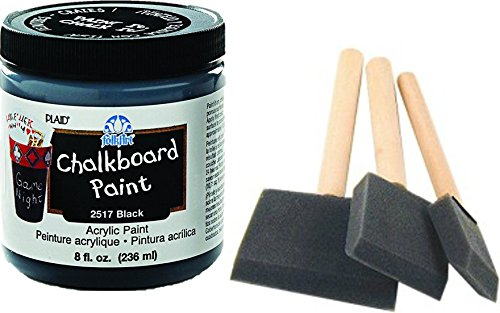 (Chalkboard Paint kit - Quality Chalkboard Paint Black, with Three Foam Brushes, Wood Handles, 3 Sizes. - Create usable Chalkboard Surfaces on Furniture, Doors, Drawers and)