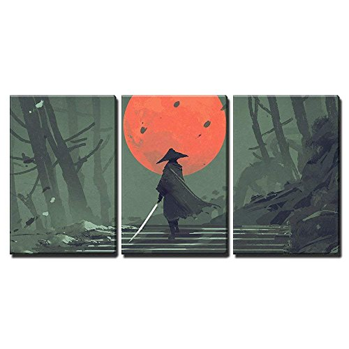(wall26 - 3 Piece Canvas Wall Art - Illustration - Samurai Standing on Stairway in Night Forest - Modern Home Decor Stretched and Framed Ready to Hang - 24