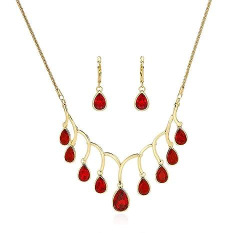 862b4076ca0e Scrox 2pcs Juego de Joyas Mujeres Elegante Novia Joyería Conjunto Brillante  Gema roja Colgante Moda Simple