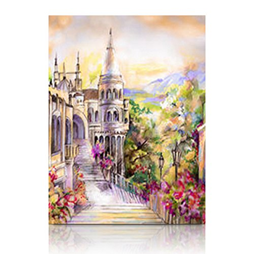 YeaSHARK Custom Canvas Prints Wall Art Beautiful Fairy Tale Castle Open Architecture Buildings Landmarks Nature Era Inspired 12x12 Inches Stretched Gallery Wrapped Home Decor Modern Artwork Painting ()