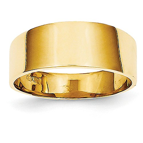 Gold Cigar Band - 14k Yellow Gold 8mm Flat-top Tapered Cigar Band Ring (7mm Width) - Size 7