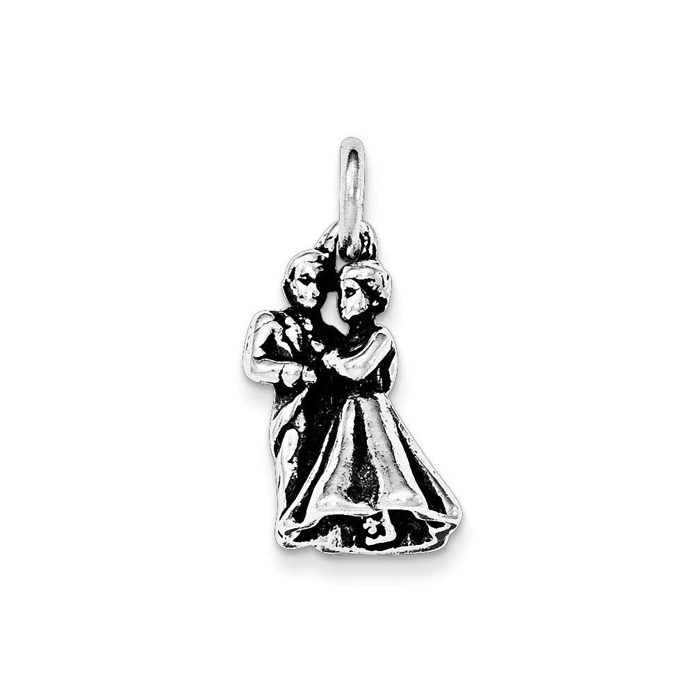 925 Sterling Silver Antiqued Man and Woman Embracing Pendant