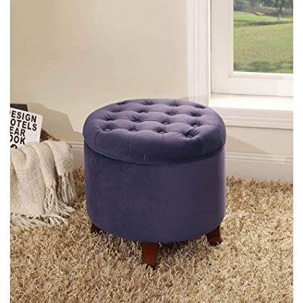 Tufted Round Ottoman With Storage, Button Tufted Lift Off Lid For Easy  Access To Spacious