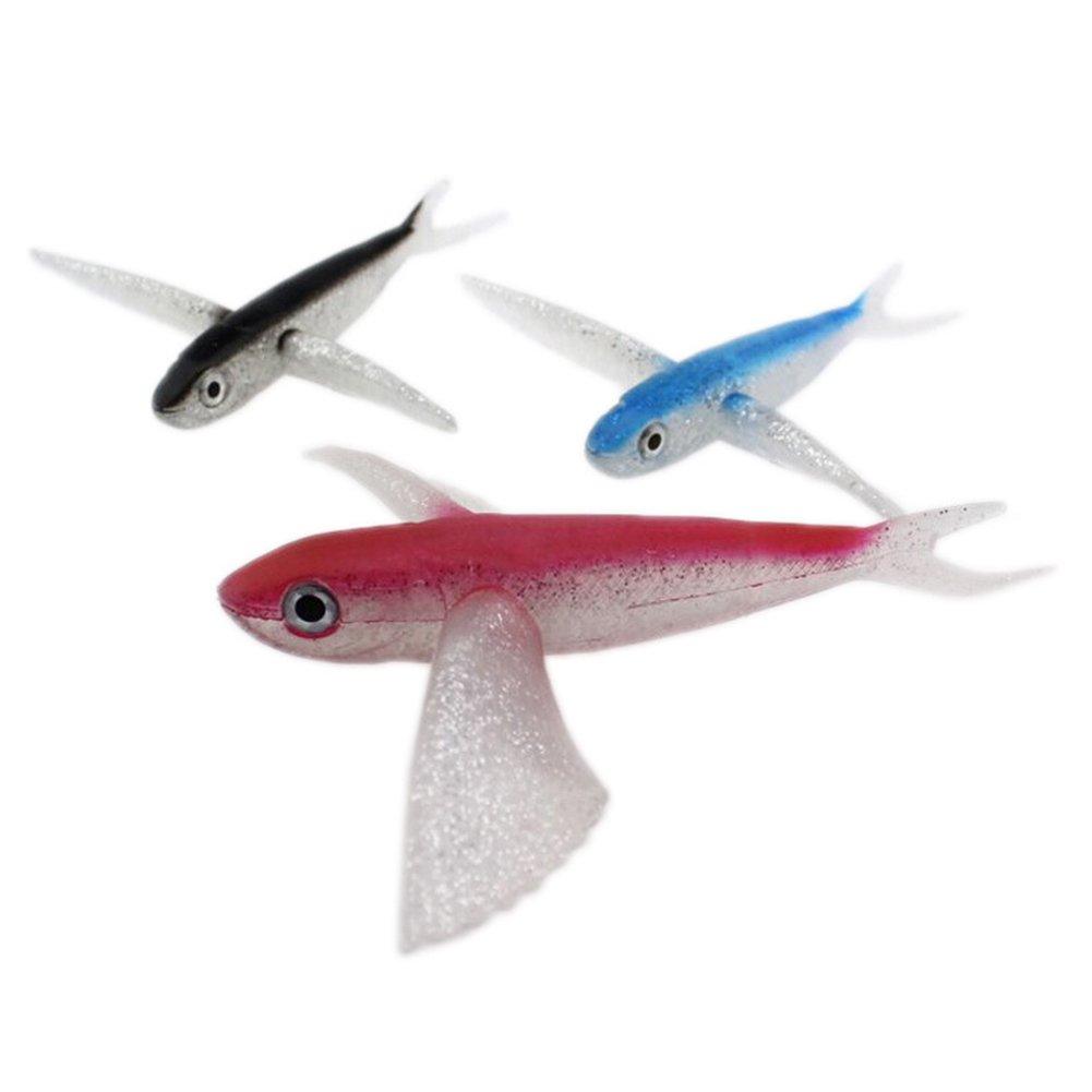 Yiwa Artificial Flying Fish Bait Señuelo de la pesca suave para Atún Caballa Seawater Fishing Boat Trolling