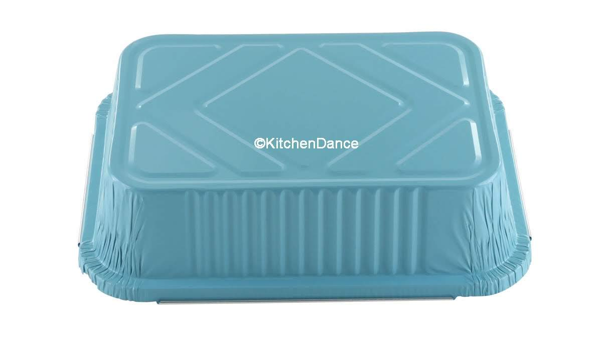 KitchenDance Disposable Colored Aluminum 3.75 Pound Take Out Pans. Color and Lid Options (with Plastic Lids, Blue, 25) by KitchenDance.com (Image #7)