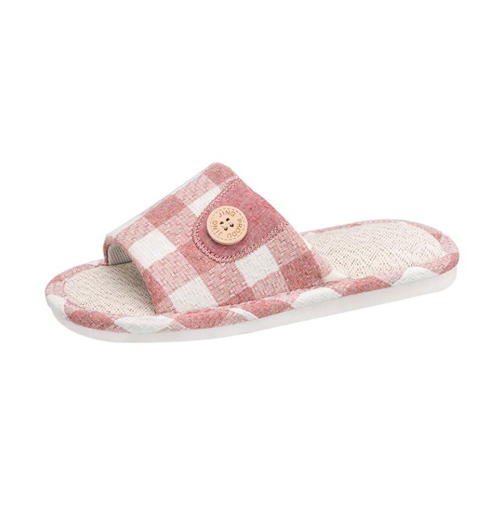 SHANGXIAN Slipper Haushalt Innen Sandalen Gitter Design Neu Flachs Anti-Rutsch Weich Flip Flops,Pink,36/37  36/37|Pink