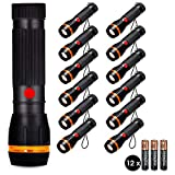 JandCase Mini LED Flashlight Set, Ideal for Camping, Hiking, Travelling, Night Walk, 36 AAA Batteries Included, 12 Pack
