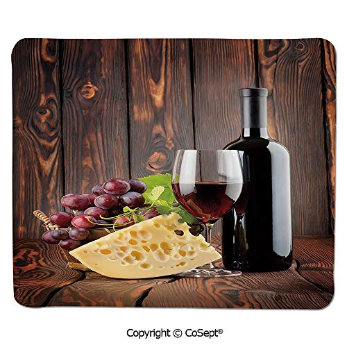 Non-Slip Rubber Base Mousepad,Red Wine Cabernet Bottle and Glass Cheese and Grapes on Wood Planks Print Decorative,Water-Resistant,Non-Slip Base,Ideal for Gaming (11.81