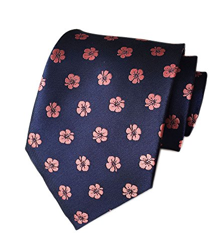 Navy Blue Silk Necktie (Secdtie Mens Navy Blue Pink Floral Silk Handmade Ties Jacquard Woven Dating A04)