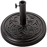 Sundale Outdoor Decorative Cast Stone Patio Umbrella Base Black Resin Heavy Duty Stand, 26 Pounds,Fit 1.5&1.9 inch Umbrella Pole