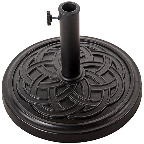 Pattern Umbrella Stand - Sundale Outdoor Decorative Cast Stone Patio Umbrella Base Black Resin Heavy Duty Stand, 26 Pounds,Fit 1.5&1.9 inch Umbrella Pole