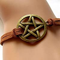 New Fashion Inspired Bracelet Retro Bronze Pentagram Pendant Brown Rope Bracelet