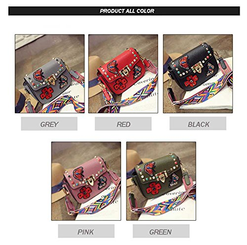 Bags Crossbody Shoulder Rivets Bag Colorful Women's Red Embroidered Square zXZZUq