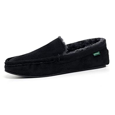 d968f80d3f7baf Mens Famous Dunlop GEORGE Moccasin Loafers Faux Sheepskin Fur Slippers with  Rubber Sole (7 UK