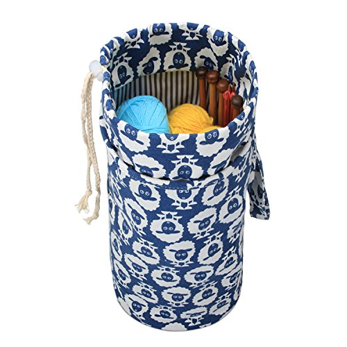 Luxja Yarn Storage Bag, Portable Knitting Bag for Yarn Skeins, Crochet Hooks, Knitting Needles (up to 14 Inches) and Other Small Accessories (Large/Sheep)