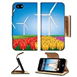 Luxlady Premium Apple iPhone 5 iphone 5S Flip Pu Leather Wallet Case iPhone5 IMAGE ID: 19429691 Wind turbines on colorful tulips field background