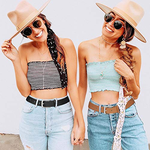 Women Casual Leather Belt for Jeans, Fashion Ladies Waist Dress Belt M, Black