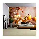 wall26 – Autumn Sangria with Apples,Pears and Cinnamon – Removable Wall Mural | Self-adhesive Large Wallpaper – 66×96 inches For Sale