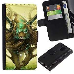 All Phone Most Case / Oferta Especial Cáscara Funda de cuero Monedero Cubierta de proteccion Caso / Wallet Case for Samsung Galaxy S5 V SM-G900 // Wild Magical Tiger Art Drawing Symbolic Time