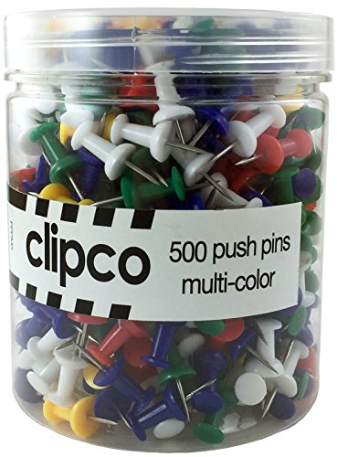 Clipco Push Pins Jar Assorted Colors (500-Count)