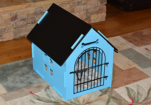 Merveilleux ROYAL CRAFT WOOD Dog House Crate Indoor Kennel For Small Dogs, Pet Home  With Door And Bed Mat (BLUE)