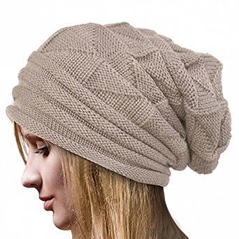 92f90cc1b53 iYBUIA 2018 Winter Women Crochet Hat Wool Knit Beanie Warm Caps(Beige