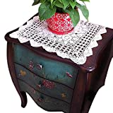 yazi Crochet Tablecloth Foral Handmade Table Doilies Cotton Lace Table Cover Square Dresser Scarf Sofa Doilies White Color 23.6inch