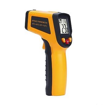 UEETEK Grado profesional sin contacto LCD IR termómetro digital infrarrojo Punto láser con batería, 15