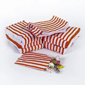 Red Candy Stripe Paper Bags - 5 x 7 - (1 pack = 100 bags) by Paper Bags
