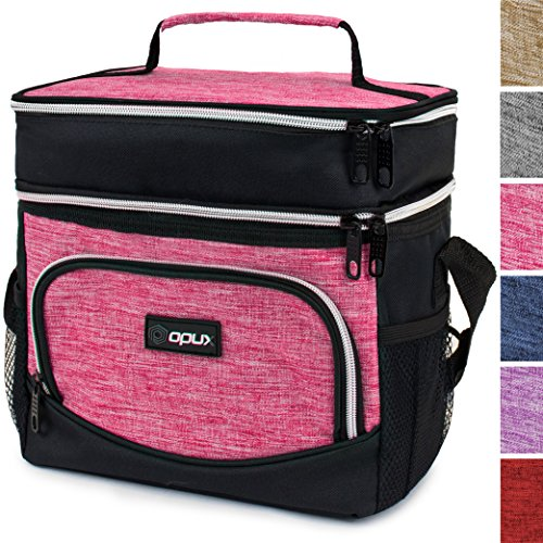 OPUX Premium Thermal Insulated Dual Compartment Lunch Bag for Women | Double Deck Reusable Lunch Tote with Shoulder Strap, Soft Leakproof Liner | Medium Lunch Box for Work, Office (Heather Pink)