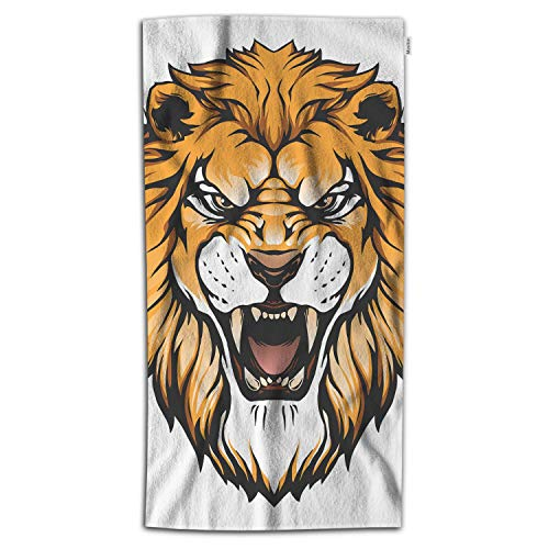(Moslion Lion Bath Towels 64Lx32W Inch Head Face Animal Fang Danger Roaring Power Symbol Wild Jungle 3D Bath Hand Towel Decorative Bath Towels Soft Polyester-Microfiber for Bathroom)