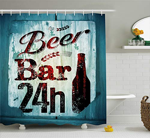 Ambesonne Retro Shower Curtain, Grunge Beer Bar 24h Figure Old Pub Sign Emblem Restaurant Graphic Design, Fabric Bathroom Decor Set with Hooks, 70 Inches, Maroon Dark Brown Teal