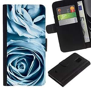 All Phone Most Case / Oferta Especial Cáscara Funda de cuero Monedero Cubierta de proteccion Caso / Wallet Case for Samsung Galaxy S5 Mini, SM-G800 // Blue Roses