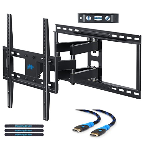 Mounting Dream MD2380-24 TV Wall Mount Bracket with Full Motion Articulating Arms for most 26-55'' LED, LCD, OLED and Plasma TVs up to VESA 400 x 400mm and 99 lbs. Fits 16'', 18'', 24'' wood studs (Tv Wood Lcd Plasma)