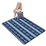 Non-Slip Door mat Winter Traditional Scandinavian Needlework Inspired Pattern Jacquard Flakes Knitting Theme W6'xL9' Suitable for Family