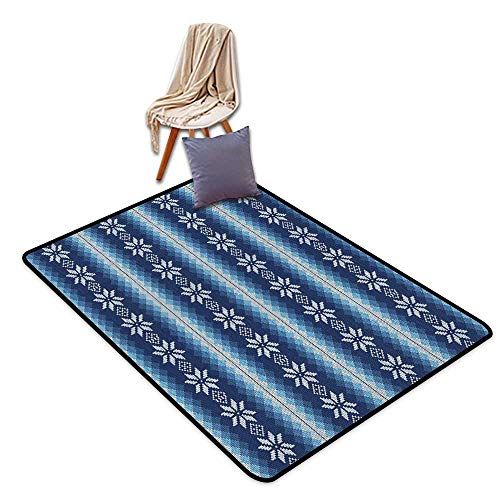 Bathroom Suction Door mat Winter Traditional Scandinavian Needlework Inspired Pattern Jacquard Flakes Knitting Theme W5'xL7' Suitable for Family by Anhounine (Image #6)