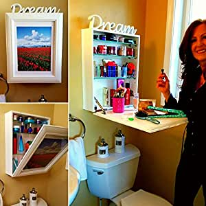 Triple Treat: (1) Instant Counter (2) Secret Storage (3) Easy to Change Art. Yellow Stars Say It All. On Hoda and Kathy Lee Show. Browse Pictures of Bathroom, Office, and Kitchen. Drop Down Gorgeous!