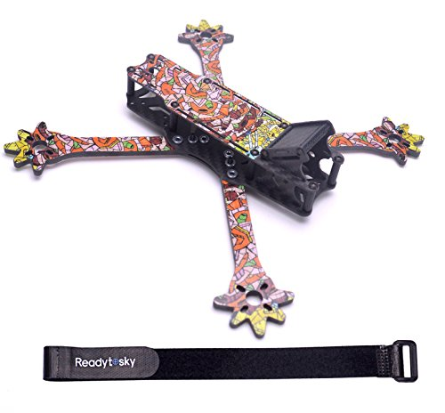 Readytosky 235mm FPV Racing Drone Frame 5 Inch Carbon Fiber Quadcopter Frame Kit 4mm Removable FPV Frame Arms with 20cm Lipo Battery Strap