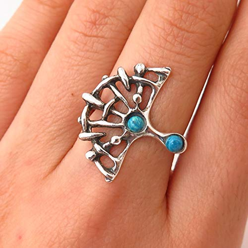 925 Sterling Vintage Europe Faux Turquoise Spider Web Design Ring Size 6 1/4 Jewelry by Wholesale - Turquoise Spider Ring Web