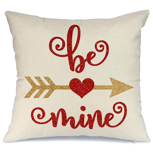 AENEY Valentines Pillow Cover 18x18 for Couch Hot Love Red Sweet Heart Be Mine Arrow Happy Valentine's Day Decorations Throw Pillow Home Decor Pillowcase Faux Linen Cushion Case Sofa A179 (Valentines Day Throw Pillows)