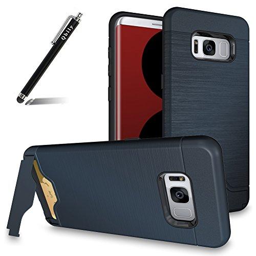 Galaxy S8 Hybrid Case Blue,Qbily 2in1 Hard PC Soft