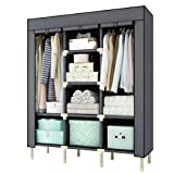 LJ&L Portable Closet Wardrobe Non-Woven Fabric Cloth Storage Organizer Rack, Sealed dustproof, Transparent window, High-end home lockers,A,597520inch