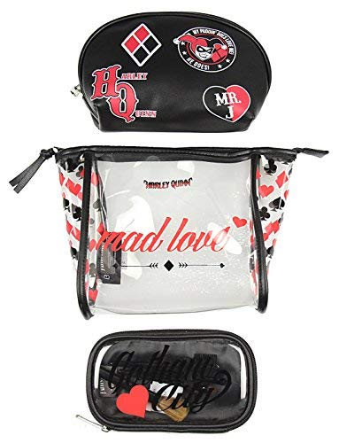 Harley Quinn Mad Love 3 Piece Cosmetic Toiletry, Make Up Bag Brush Gift Set