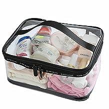 PVC Black Clear Transparent Cosmetic Toiletry Travel Wash Makeup Bag Zip