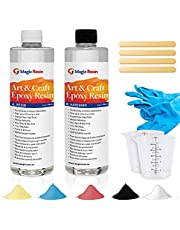 Magic Resin | Art & Craft Epoxy Resin Kit | Low VOC & Low Odor | Crystal Clear and High Gloss | For Jewelry, Earrings, Coasters, Casting, Molding, Crafting & more | Great Color Stability | 100% Solids