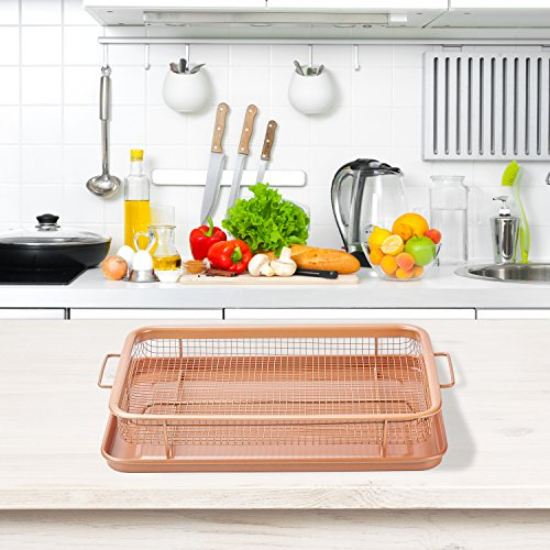 Gvode Copper Crisper as Oven Air Fryer- Multi-Purpose Non-Stick Baking Frying Tray & Basket by GVODE (Image #5)