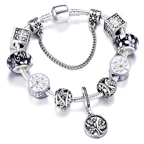 Vintage Silver Color Charm Bracelet with Tree of Life Pendant and Gold Crystal Ball Brand Bracelet ()