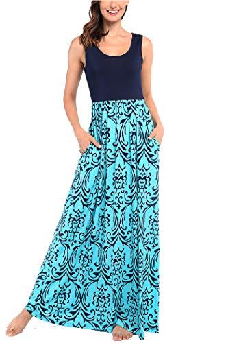 Comila Sleeveless Maxi Dresses for Women, Boho Floral Maxi Dresses for Women Summer Crew Neck Long Dresses Sleeveless Beach Party Maxi Dress Turquoise L (US 12-14) ()